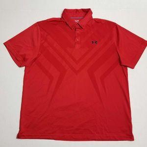 Under Armour Red Polo Heat Gear shirt - Men's 2XL
